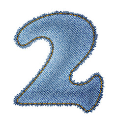 Jeans alphabet Denim number 2 vector image
