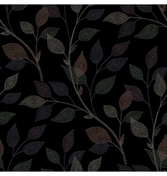 Leaves needlework black vector