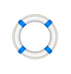 life buoy in white and blue design with rope vector image