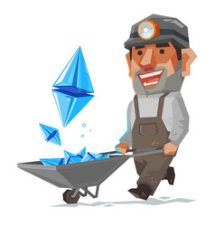 miner and ethereum mineral cryptocurrency sign vector image vector image