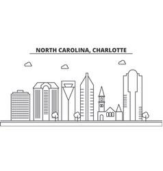 North carolina charlotte architecture line vector
