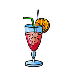 pop art style cocktail sticker vector image vector image