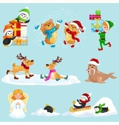 Set animals winter holiday north pole vector