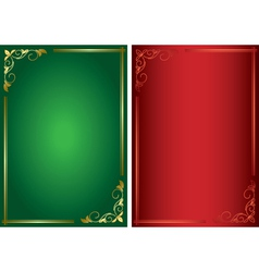 set - decorative green and red frames vector image vector image