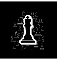 Set of black and white outline chess pieces in vector