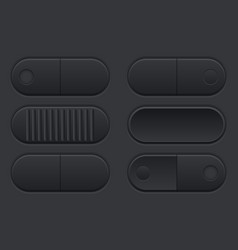 Set of black buttons user interface elements vector