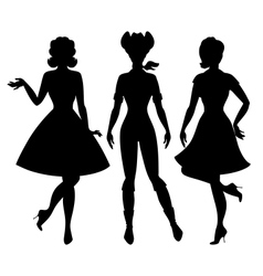 Silhouettes of beautiful pin up girls 1950s style vector image vector image