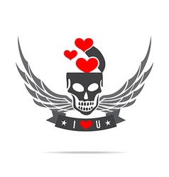 Skeleton skull with wing logo emblem element 002 vector