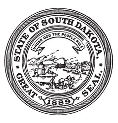 the great seal of the state of south dakota 1889 vector image vector image