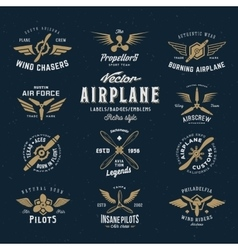Vintage Airplane Labels Set with Retro vector image