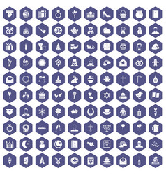 100 religious festival icons hexagon purple vector