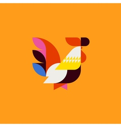 Silhouette of cute patchwork style rooster vector image
