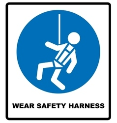 Wear safety harness sign vector