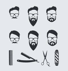 Vintage barber tools and elements vector