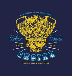 motorbike repair service emblem for t-shirt vector image