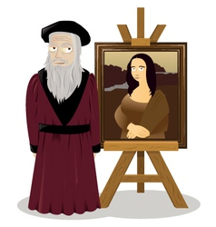 Mona lisa easel and leonardo da vinci vector