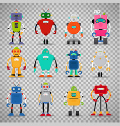 Cute robots set on transparent background vector