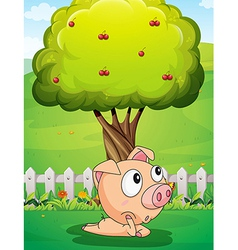 A pig under the tree vector
