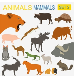 Animals mammals icon set flat style vector