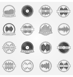 Sound logo and emblem set vector