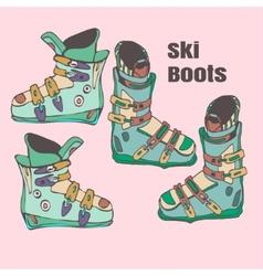 ski boots handmade vector image