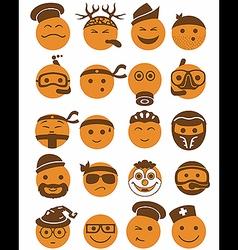 20 smiles icons set profession orange vector