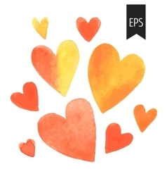 Set of orange watercolor hearts vector