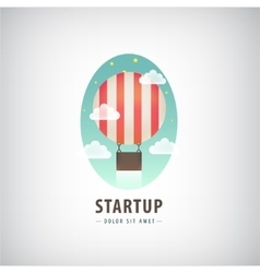 Business start up logo flying air ballon vector