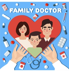 Family doctor concept banner hands with heart vector
