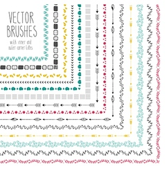 Set of hand drawn brushes with corner tiles vector