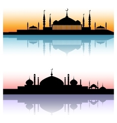Mosque architecture silhouettes sunset cityscapes vector