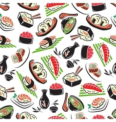 Japanese seafood cuisine seamless pattern vector