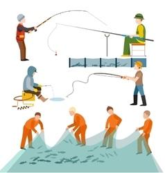 Fishing fishermen people vector image