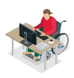 Handicapped man in wheelchair in a office working vector