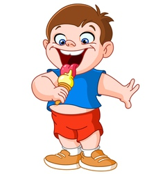 Kid eating icecream vector