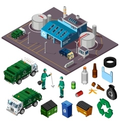 Recycling center isometric design concept vector