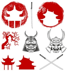 Samurai design elements set vector