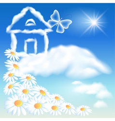 Cloud house in the sky vector