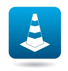 Traffic cone icon in simple style vector