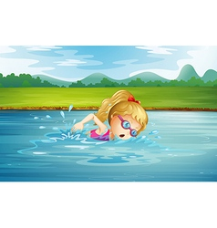 A girl swimming at the river vector image vector image