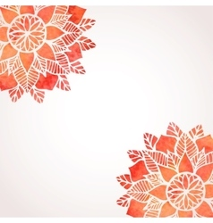 Background with watercolor red flowers pattern vector