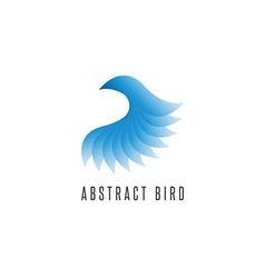 Bird log gradient blue style abstract winged idea vector