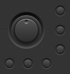 Black control panel with switches for interface vector