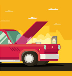 Broken car cartoon flat vector