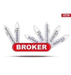 Broker symbol penknife with many blades vector