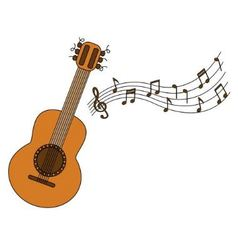 Cartoon acoustic guitar and sheet music vector