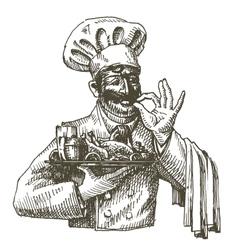 Chef cook logo design template fresh food vector