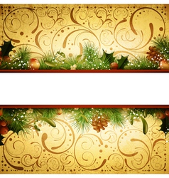 Christmas and New Year Fir Tree Frame vector image