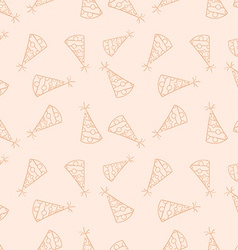 Doodled seamless pattern birthday hats endless vector