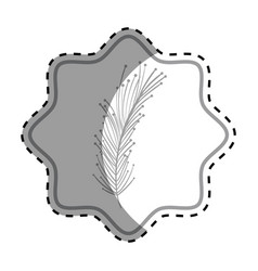 Emblem beutiful feather decoration deign vector